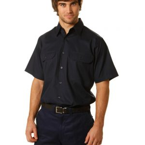 WT03 Cotton Drill Short Sleeve Work Shirt