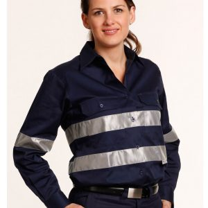 WT08HV WOMEN'S COTTON DRILL WORK SHIRT WITH 3M TAPES 2     Promotion Wear