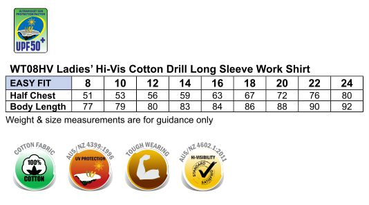 WT08HV WOMEN'S COTTON DRILL WORK SHIRT WITH 3M TAPES