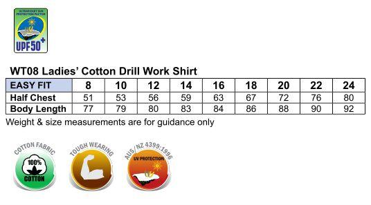 WT08 WOMEN'S COTTON DRILL WORK SHIRT
