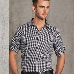M7300L Men's Gingham Check Long Sleeve Shirt with Roll-up Tab Sleeve