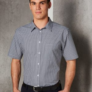 M7300S Men's Gingham Check Short Sleeve Shirt 2     Promotion Wear