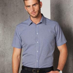 M7320S Men's Multi-Tone Check Short Sleeve Shirt