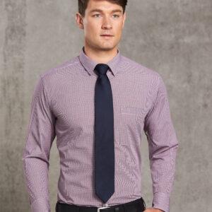 M7340L Men's Two Tone Mini Gingham Long Sleeve Shirt 4 | | Promotion Wear
