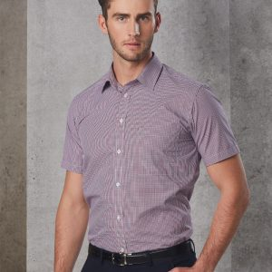 M7340S Men's Two Tone Mini Gingham Short Sleeve Shirt 5     Promotion Wear