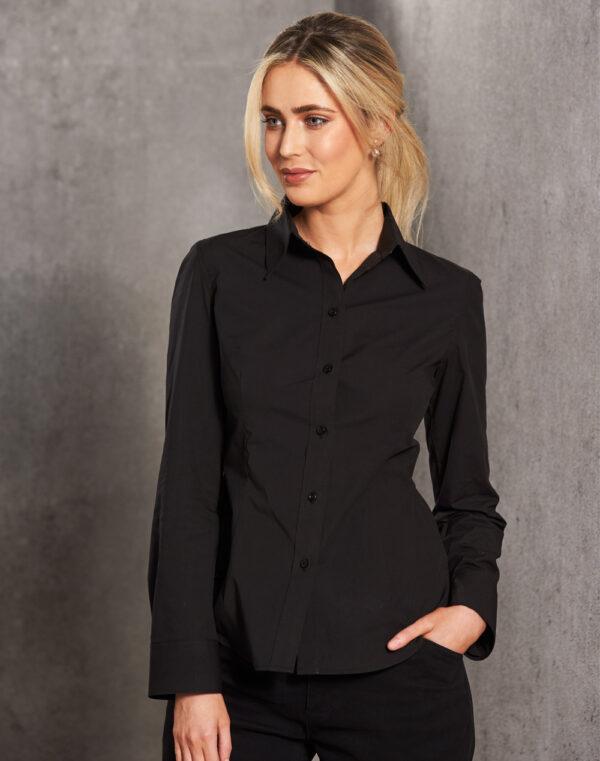 M8020L Women's Cotton/Poly Stretch Long Sleeve Shirt 1     Promotion Wear