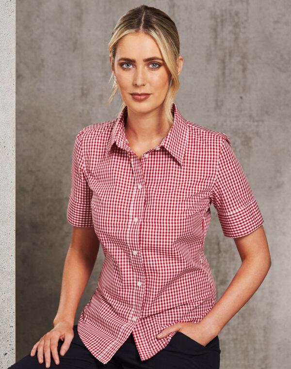 M8300S Ladies' Gingham Check Short Sleeve Shirt