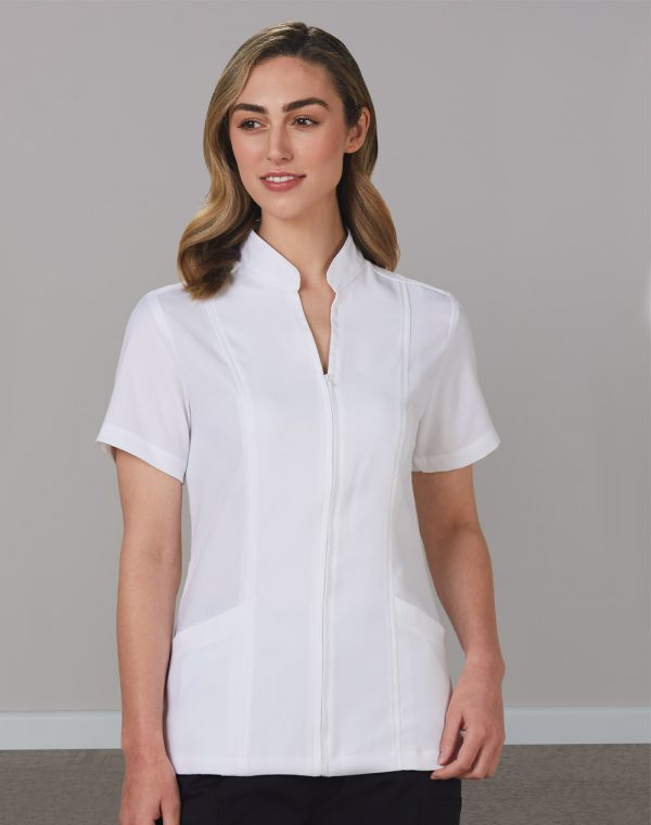 M8636S Women's Full Zip Front Short Sleeve Tunic 1 | | Promotion Wear