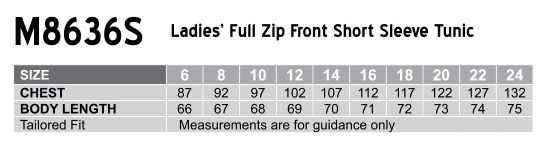 M8636S Women's Full Zip Front Short Sleeve Tunic