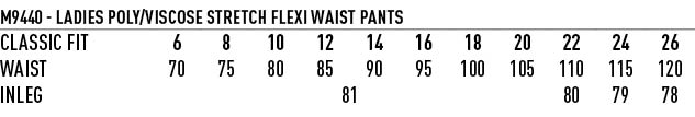 M9440 Women's Poly/Viscose Stretch Flexi Waist Pants