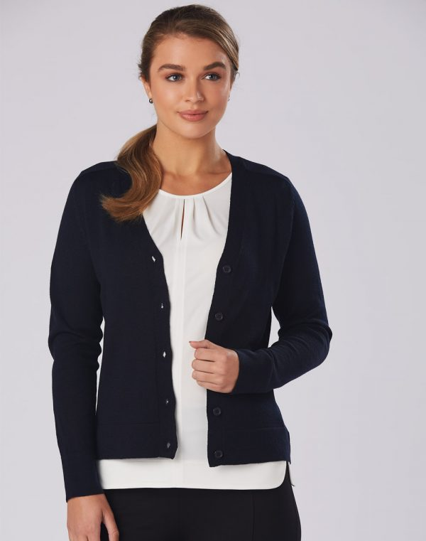 M9602 Women's V-Neck Long Sleeve Cardigan 1     Promotion Wear