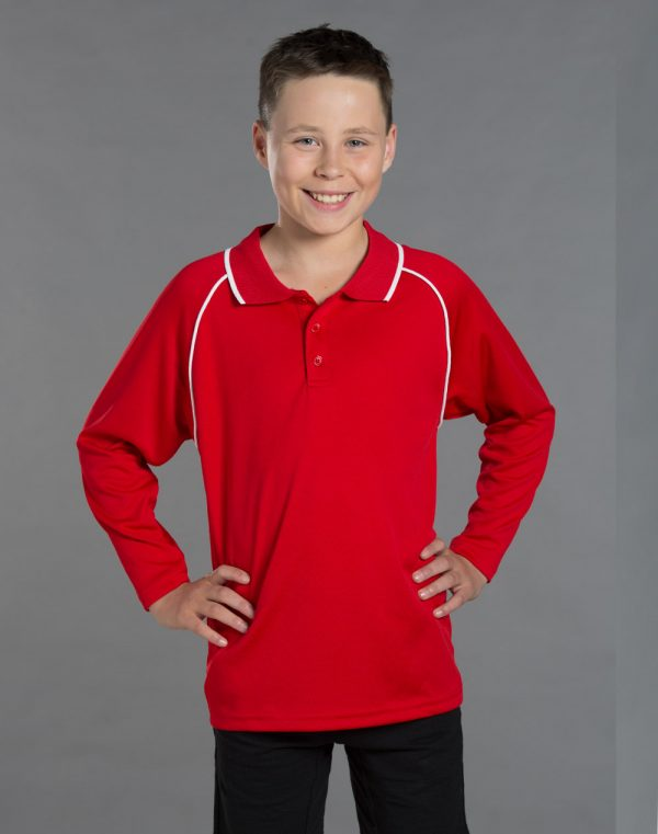 PS43K Kids CoolDry® Long Sleeve Contrast Colour Polo