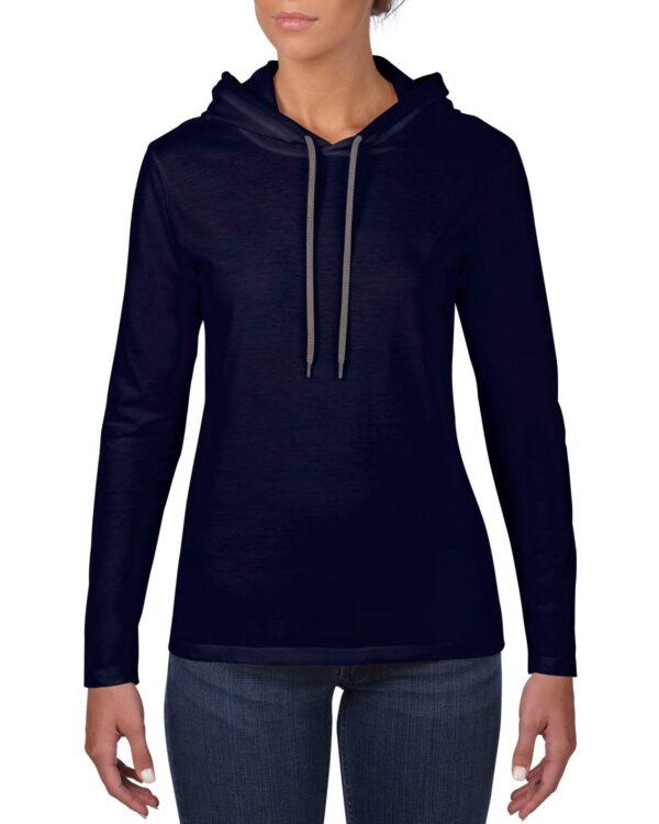 887L Women's Lightweight Long Sleeve Hooded Tee