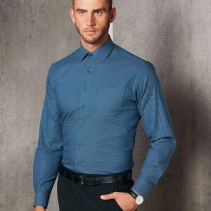 M7400L - Mens Dot Jacquard Stretch Long Sleeve Ascot Shirt