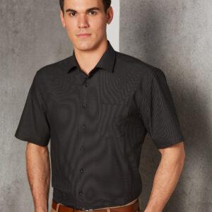 M7400S - Mens Dot Jacquard Stretch Short Sleeve Ascot Shirt