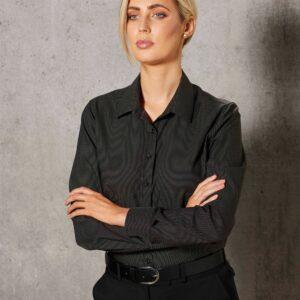 M8400L - Ladies Dot Jacquard Stretch Long Sleeve Ascot Shirt