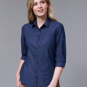 M8400Q - Ladies Dot Jacquard Stretch 3/4 Sleeve Ascot Shirt