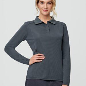 PS90 - Ladies Bamboo Charcoal Eco Fabric Long Sleeve Polo